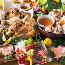 【日~木限定のひな鶏コース】新鮮鮮魚・熱々若鶏のネギステーキ鉄板■+500円でプレ飲み変更可
