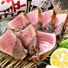 【藁焼き】鰹の藁塩たたき 自家製にんにく醤油付