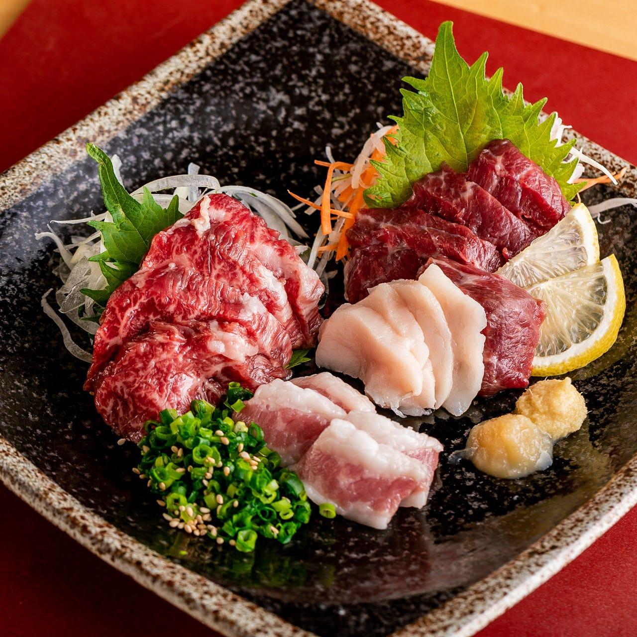 古閑牧場の「馬刺し」と九州料理!