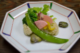 季節野菜と魚の和風マリネ。