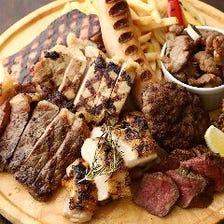 プレートで肉汁溢れる絶品お肉を堪能