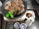 セットメニュー特選熊肉の炙り日本酒付き