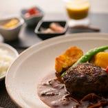 和牛ハンバーグステーキ(170g)いばぎゅうスタイル※前菜+スープ・ライス付