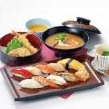 寿司御膳 寿司9貫に茶碗蒸し、天ぷらなどもついた贅沢ランチ☆