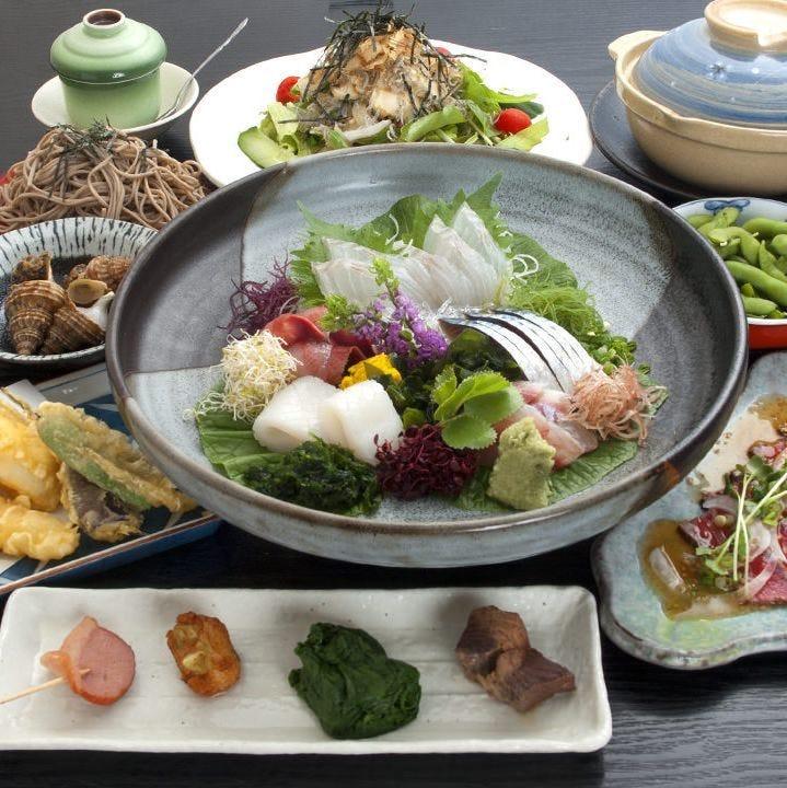 宴会は2時間飲み放題。 新鮮なお魚を毎日佐島港で直接仕入れ。