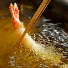 こだわりの食材を天ぷらで