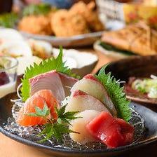 【宴会特別コース】毎日入荷の刺身3種、和牛タタキ&炭焼きなどお肉充実の全10品!3,500円税抜