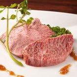 芳醇な香りと脂の甘みが特徴の『田村牛』。希少部位で提供