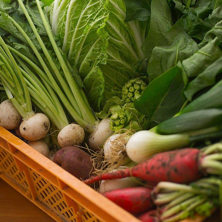 選び抜いたお野菜と新鮮食材♪