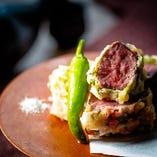 国産牛ヒレ肉の紫蘇巻き天麩羅