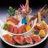 牛づくし1,580円 牛寿司、牛刺し、たんかつ等、全6種の盛り合せ