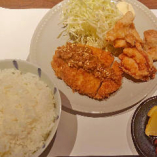 三元豚の味噌カツと鶏の唐揚げ定食
