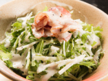 ベーコンと水菜のシーザーサラダ