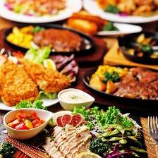 【2時間飲み放題付】料理長心尽くしの特別ディナー『開きエビ入りお肉と魚介のフルコース』[全9品]