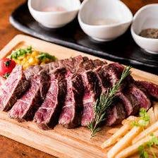 サーロインステーキ  腰の上部、最高級部位のひとつ。柔らかく甘みのある霜降り肉です。