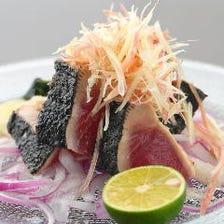 土佐名物!本鰹の藁焼き(塩タタキor橙ポン酢)