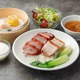 焼豚とチャーシュー定食