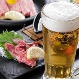 +1,500円(税抜)でたっぷり120分のプレミアム飲み放題をお付けすることも可能!ビールはプレミアムモルツにグレードアップさせていただきます◎