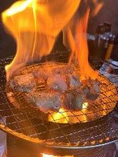 會津地鶏の藁焼き