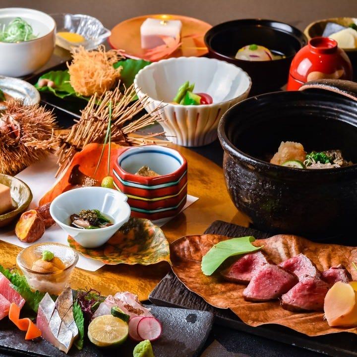 ◆季節の食材と和牛炭焼きを味わう当店人気の懐石【お料理のみ】『桜 懐石コース』[全9品]多彩なシーンに