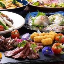 ◆【お料理のみ】鮮魚の花造りやプチ牛ステーキに舌鼓…ちょっと贅沢に『月コース』[全6品]