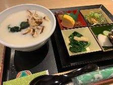 双葉寿司特製「豆乳おかゆ」と絶対食を含むおかず5品