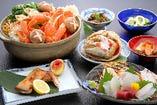 活蟹の自店茹での蟹鍋会席の参考例。鍋汁がバツグンに美味しくなる。ゆでただけのかにとは又違う美味しさが加わる。