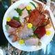 活伊勢海老料理。刺身活き造り、塩焼き、具足煮他とコース料理。