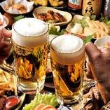 とりあえずの一杯はビールでどうぞ!