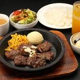 【ランチ】150gブルズステーキフルセットランチ(ライス&スープ+サラダ&ドリンク・デザート付)