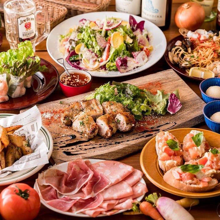 定番1番人気【2.5時間飲み放題】人気のお料理のパーティーコース〈全8品〉宴会・女子会・歓迎会・送別会
