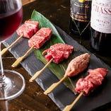 名物「松阪牛串」とワインのマリアージュをお楽しみください