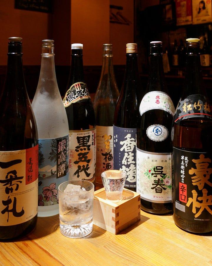 定番ものの日本酒・焼酎、ワインも 取り揃えております