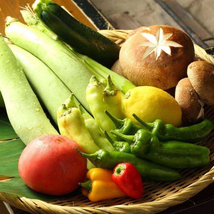 季節野菜の炭火焼き