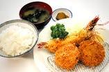 海老フライと三元豚ヒレカツ定食