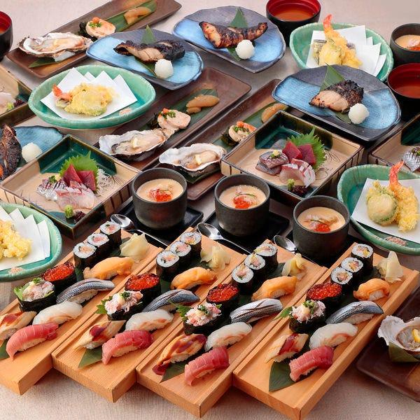"""【宴会】¥5000 """"板前特選 海の幸と高級にぎり寿司コース""""全7品"""