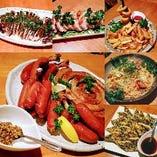 お・と・く!なビアガーデンプランのお食事(^O^) スルメイカの肝みそ焼き タンドリーチキン フライ盛合 夏パスタ チヂミなどお腹イッパイです♪