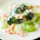 ちんげん菜とブロッコリーの蟹あんかけ