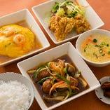 【A定食】 肉団子甘酢、海老玉のあんかけ、鶏の唐揚げ、サラダ、ごはん、スープ