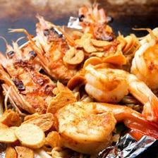 海鮮焼き・お好み焼が食べられる「お手軽鉄板焼コース」3,850円※飲み放題付