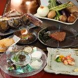 キャビアや松阪牛などの高級食材を一挙に味わえる贅沢なコース