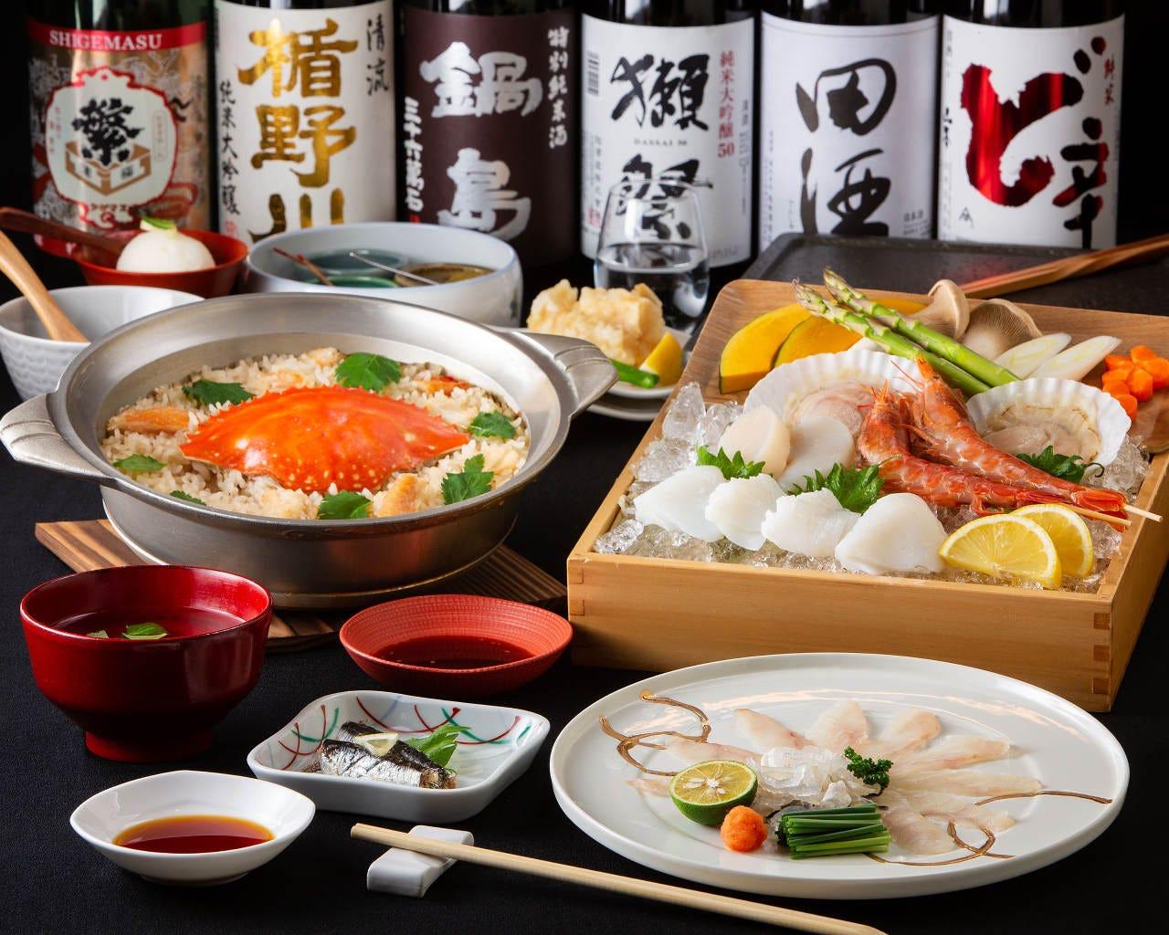 【蟹めし】2H飲み放題付!トラフグ刺 海鮮焼など全8品 6,050円コース