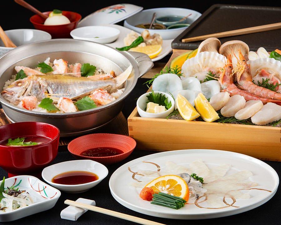 【特】【鯛・蟹めし】両方味わえる!2H飲み放題付!全8品 7,700円コース