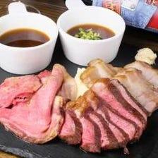 人気のお肉が大集合♪♪名物!!『3種の肉の盛り合わせ』(ローストビーフ・ステーキ・ローストポーク)