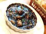 イカの煮込み 黒いイカスミソース