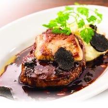 トリュフ香る熟成牛とフォアグラのステーキ ロッシーニ風