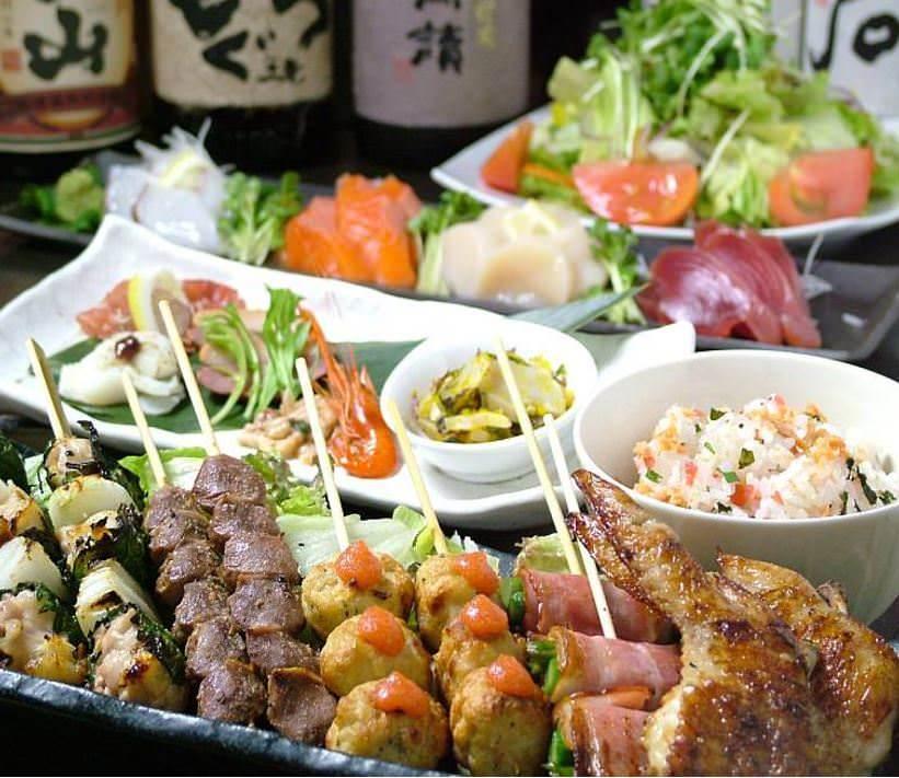 【2時間飲み放題付】鶏のタタキ盛りと串8種コース全15品5,000円