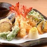 天ぷら盛合せ 大えび天3尾、穴子天2尾、さより天3尾