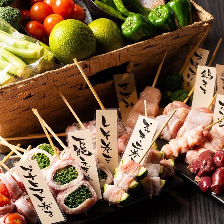 色鮮やかな野菜の肉巻き串