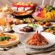 お食事メニューは全て新鮮野菜と前菜・スープ等付き♪